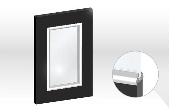 結晶鋼烤框型鋁邊玻璃門板