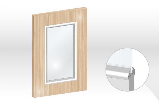 水晶板框型鋁邊玻璃門板