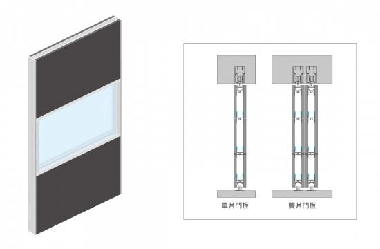H4 歐式鋁框緩衝懸吊門C
